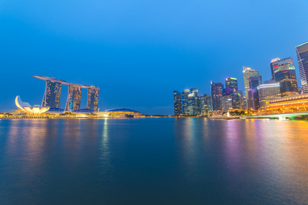 singaporean: Singapore landmark city skyline at the Marina bay during twilight. Editorial