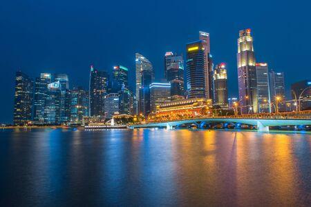 estate: SINGAPORE-February 1, 2017 : landscape of marina bay in Singapore at night