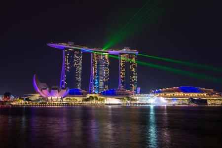singaporean: SINGAPORE-February 1, 2017 : landscape of marina bay in Singapore at night