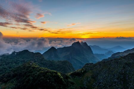 Landscape of sunset on Mountain valley at Doi Luang Chiang Dao, ChiangMai Thailand.