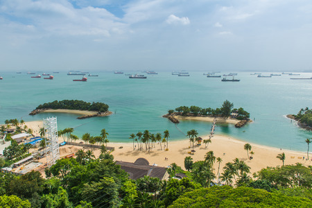 Aerial view of tropical beach in Sentosa island. Stock Photo