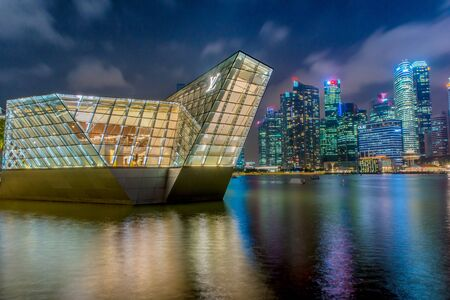 SINGAPORE-May 1, 2017 : landscape of LOUIS VUITTON at marina bay in Singapore at night