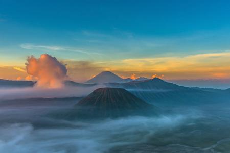 Mount Bromo volcano (Gunung Bromo) during sunrise from viewpoint in Bromo Tengger Semeru National Park, East Java, Indonesia.