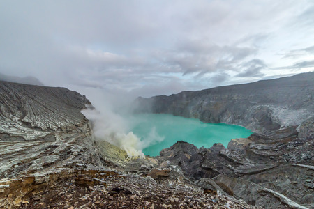Kawah Ijen Volcano is a stratovolcano in the Banyuwangi Regency of East Java, Indonesia. Editorial