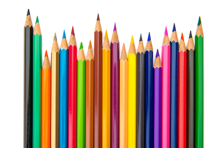 Color pencils isolated on a white background. Stock Photo