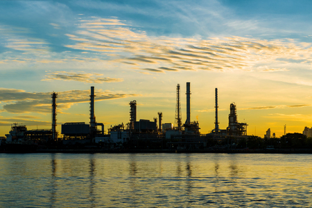 Oil refinery factory at twilight Bangkok Thailand.