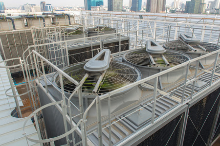 Ventilation system on roof top of the building.