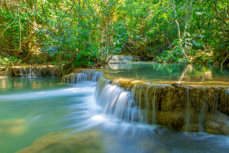 Waterfall in Deep forest at Erawan waterfall National Park.