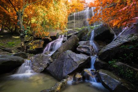 Waterfall beautiful in rain forest at Soo Da Cave Roi et Thailand.