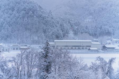 Snow falling in winter at Gifu Chubu Japan.