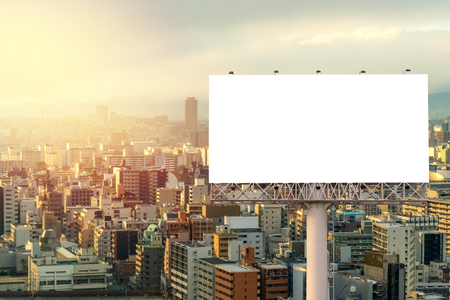large Blank billboard ready for new advertisement with sunset.