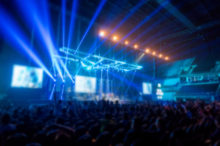 blur music brand showing on stage or Concert Live and Defocused entertainment concert lighting on stage with Laser rays beams, party concept. Stock Photo