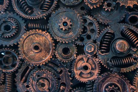 métal abstrait pour le fond par des boulons et des écrous à cliquets mécaniques.