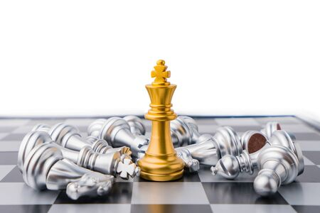 King chess board game in competition play, Ideas business success concept.