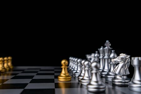 chessman checkmate on chess board game in competition play, Ideas business success concept. Stok Fotoğraf
