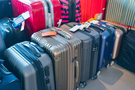 Suitcase or luggage with conveyor belt in the airport. Archivio Fotografico - 129135709