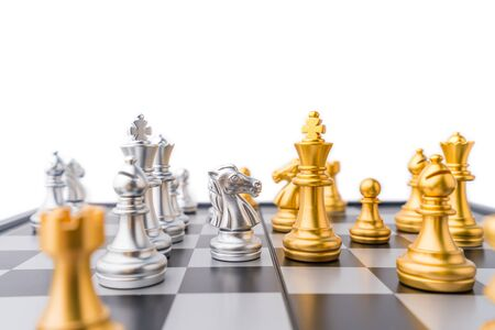 Chess horse checkmate on chess board game in competition play, Ideas business success concept.