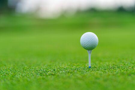 Golfball am Abschlag bereit, auf dem Golfplatz geschossen zu werden.
