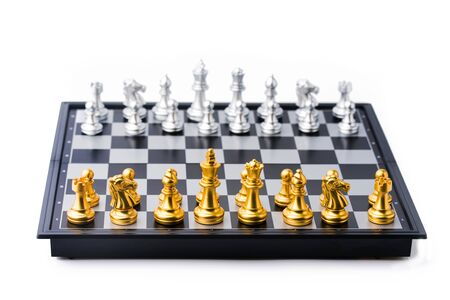 chess board game in competition play, Ideas business success concept.