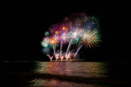 Beautiful colorful fireworks at night for celebration and anniversary or New year holiday concept