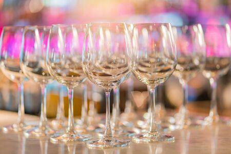 Champagne Glasses Wine Set in Night Club Bar.