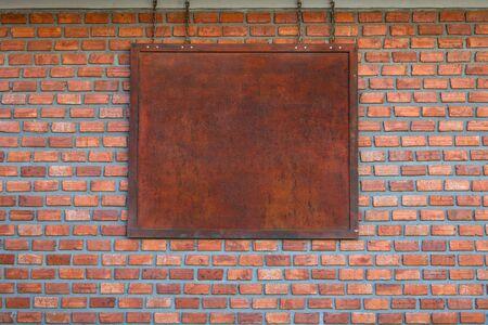 blank billboard on brick wall for new advertisement.
