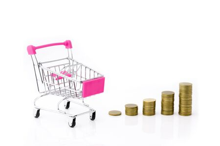 coins money and shopping cart or supermarket trolley business finance concept isolate on white background. 写真素材