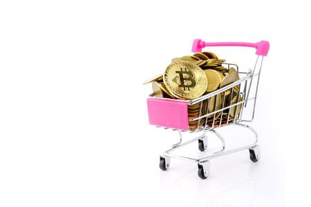 coins money and shopping cart or supermarket trolley business finance concept isolate on white background. Reklamní fotografie