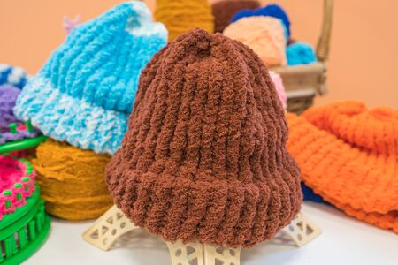 handmade knitted wool hat for winter hobbies of housewives.