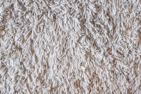 Close up white fur texture or carpet for background.