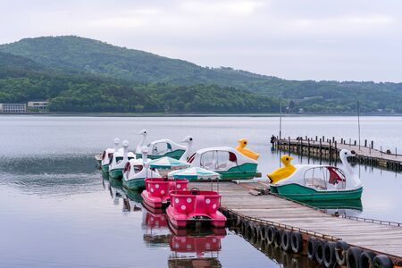 duck Pedal boats at Lake Kawaguchiko Mount Fuji is a popular recreational site for boating.
