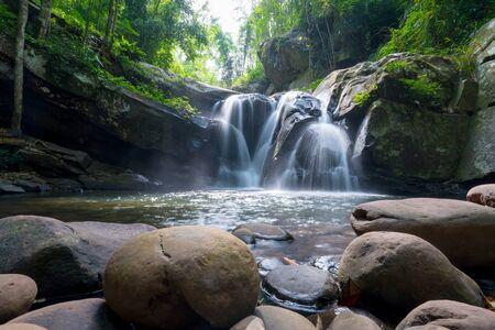Waterfall scene at Phu Soi Dao national park in Uttaradit province Thailand.
