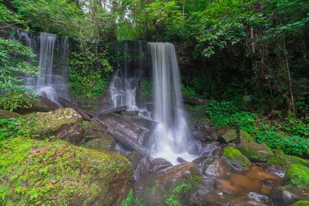 Waterfall scene at Rom Klao Pharadon Waterfalls in rainforest  Thailand. Imagens