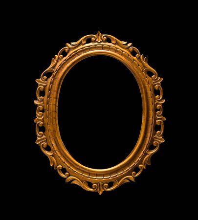 Gold oval frame Elegant vintage interesting design Isolated on black background.