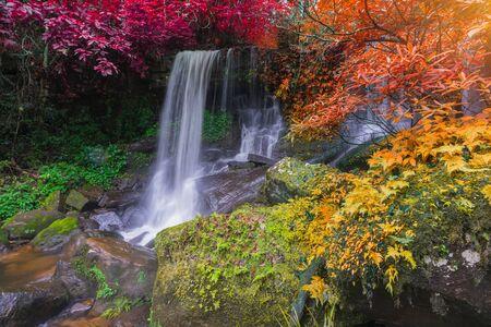 Waterfall scene at Rom Klao Pharadon Waterfalls in rainforest Thailand
