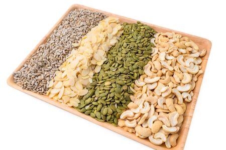 Cashew nut, Almond, Pumpkin seeds and Sunflower seed ingredient  for Homemade Grains cookies of healthy multigrain food.
