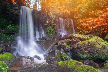 Waterfall scene at Rom Klao Pharadon Waterfalls in rainforest Thailand Stock fotó