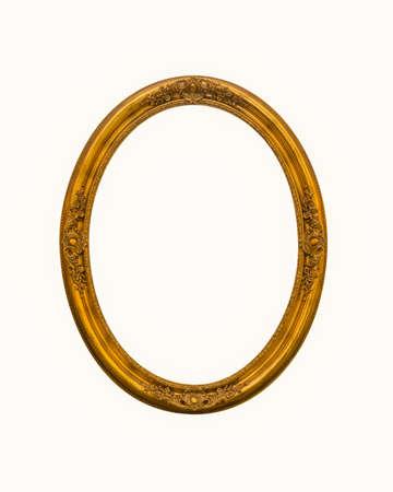 vintage gold oval frames or photo frame elegant isolated on white background. Imagens
