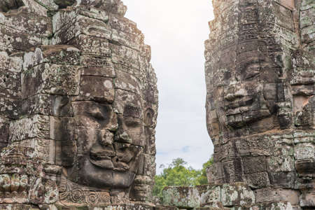Bayon Castle or Prasat Bayon Khmer temple at Angkor in siem reap Cambodia.