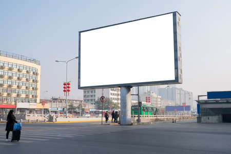 Mockup image of Blank billboard white screen posters in the city on road for advertising background Standard-Bild