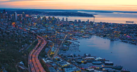 Metropolitan Seattle Incredible Aerial View Sunset Waterfront City Lake Puget Sound Pacific Northwest Concept
