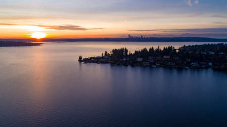 Lake Washington Sunset King County From Bellevue to Seattle