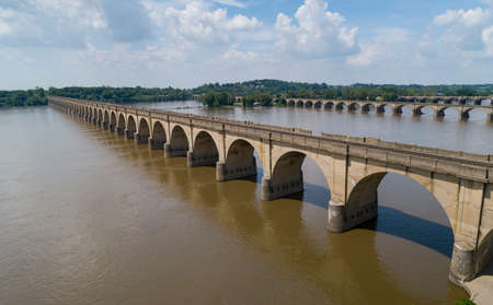 Stone Arch Bridge Train Tracks Crossing Susquehanna River From Harrisburg to Wormleysburg Pennsylvania
