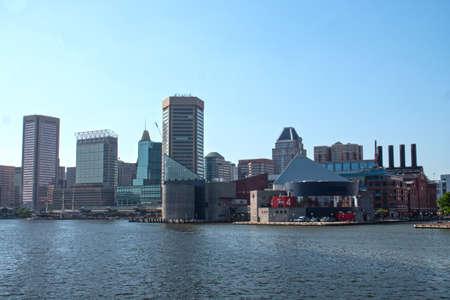 Baltimore, MarylandUSA - May 24, 2018: Inner Harbor City Downtown Skyline Patapsco River Editorial