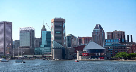 Baltimore, MarylandUSA - May 24, 2018: Patapsco River Inner Harbor Panoramic View Of Downtown Skyscrapers Landmarks and Office Buildings
