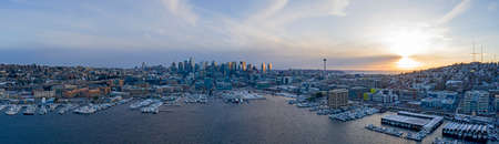 Seattle Skyline Snowy Winter Sunset Panoramic View of City Lake Union Waterfront