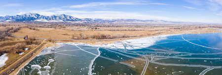 Frozen Lake Ice Frost Patterns Rocky Mountains Boulder Colorado Aerial Panorama