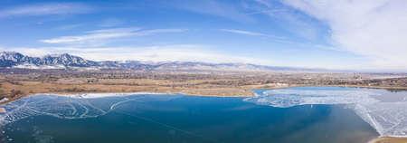 Baseline Reservoir Boulder Colorado Winter Landscape Stock Photo