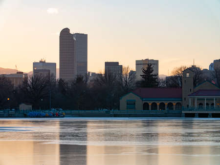 Sunset From Lake at City Park Denver Colorado USA Stock Photo