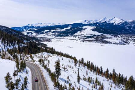 Winter Car Driving Highway Aerial Leaving Breckenridge Frisco Area Ski Resorts